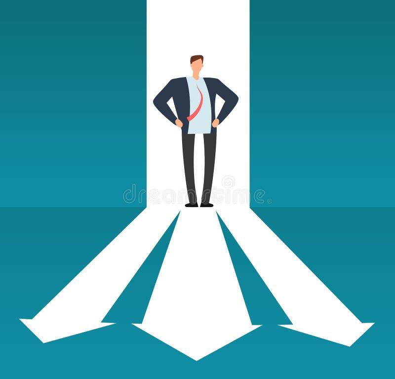 Hombre de negocios que mira camino con muchas direcciones Opción del negocio del éxito y concepto subido de tono del vector de la libre illustration