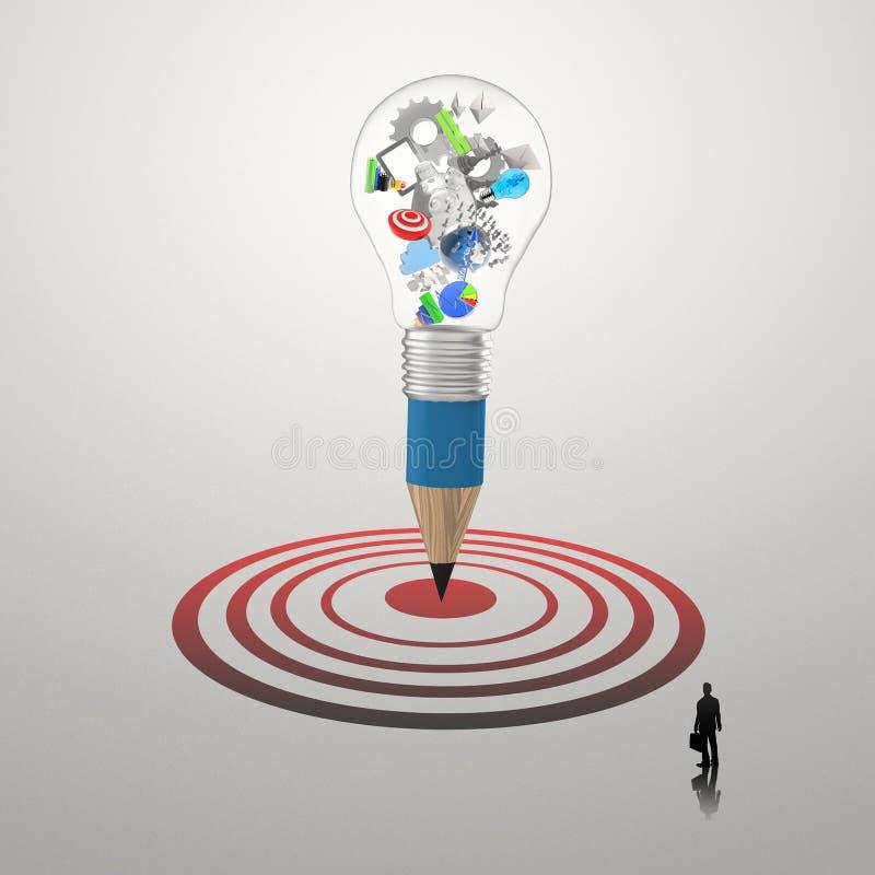 Hombre de negocios que mira diseño creativo stock de ilustración