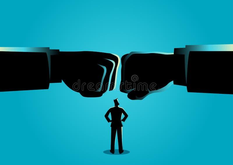 Hombre de negocios que mira el puño de dos gigantes coincidido stock de ilustración