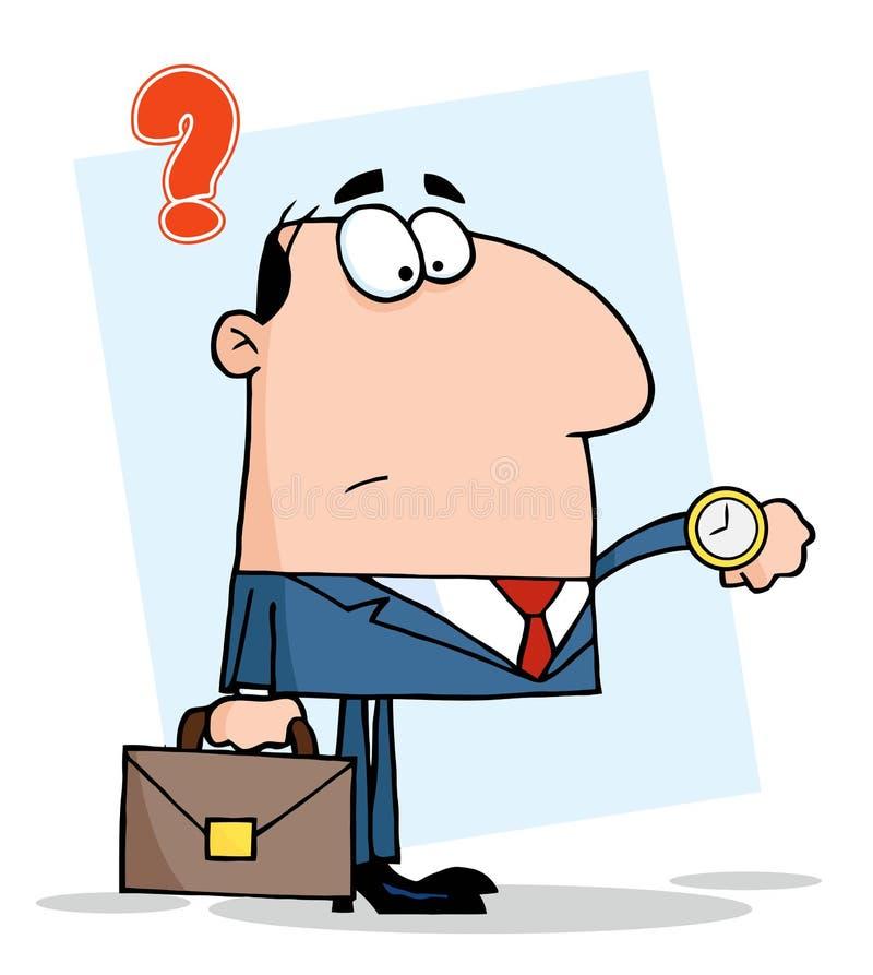 Hombre de negocios que mira el reloj stock de ilustración