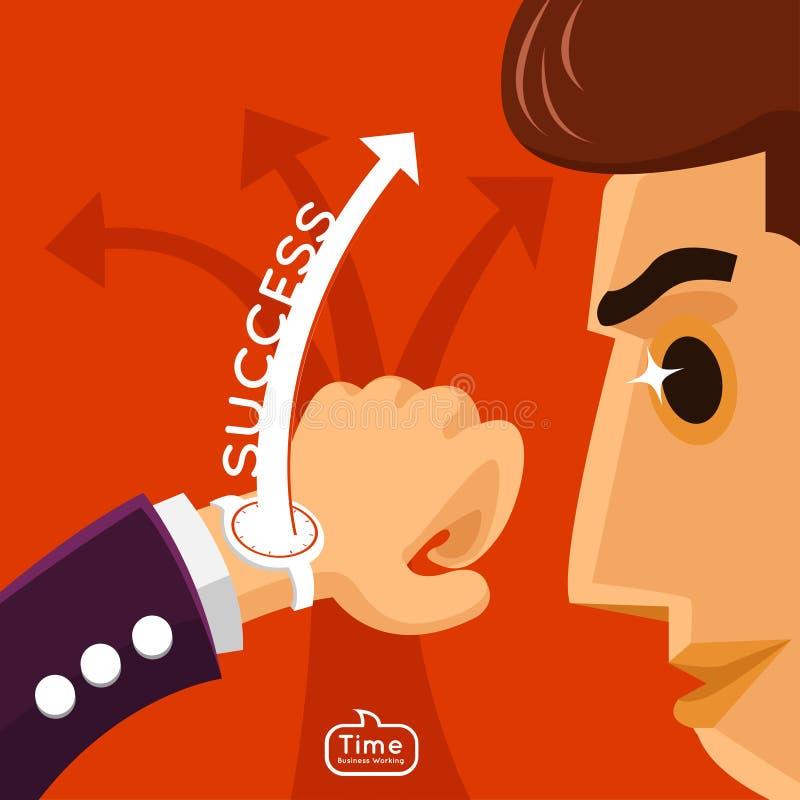 Hombre de negocios que mira el reloj ilustración del vector