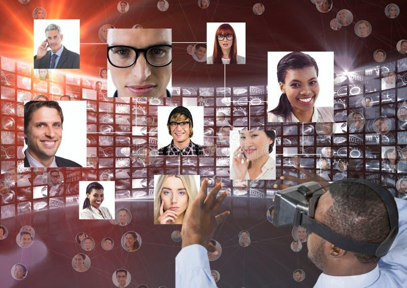 Hombre de negocios que mira el retrato sobre los vidrios de VR ilustración del vector