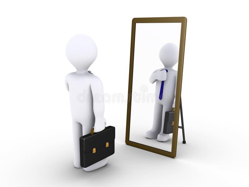Hombre de negocios que mira en el espejo stock de ilustración