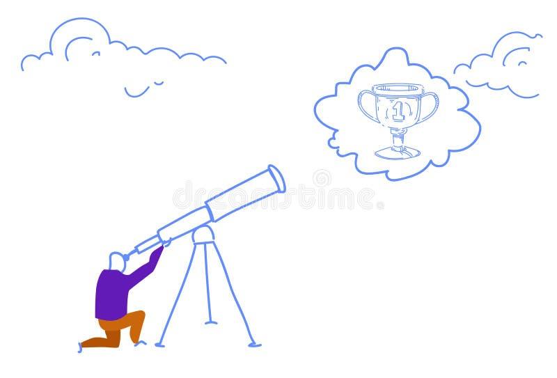Hombre de negocios que mira garabato horizontal del bosquejo del negocio de la visión del ganador de la taza del trofeo del campe libre illustration
