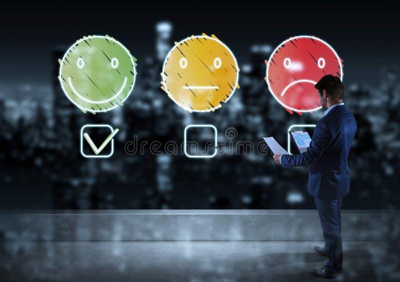 Hombre de negocios que mira la línea fina grado de satisfacción del cliente ilustración del vector
