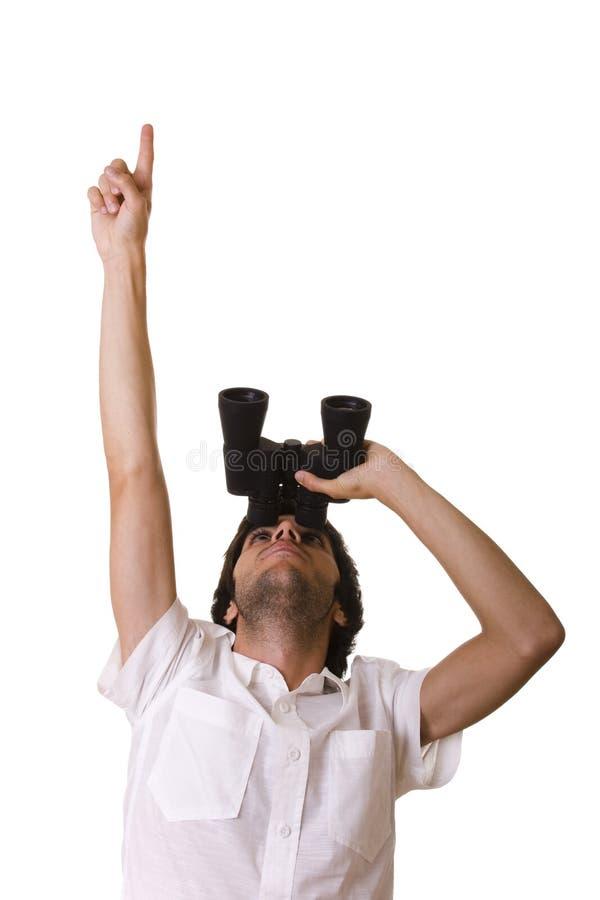 Hombre de negocios que mira para arriba con el suyo binocular fotos de archivo libres de regalías