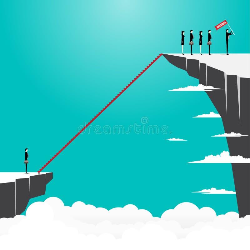 Hombre de negocios que mira para arriba en escalera al éxito ilustración del vector