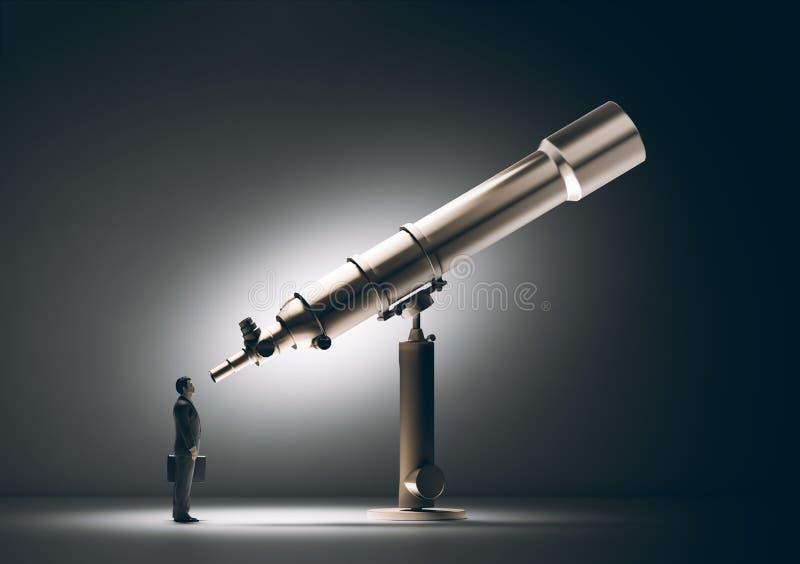 Hombre de negocios que mira a través de un telescopio ilustración del vector