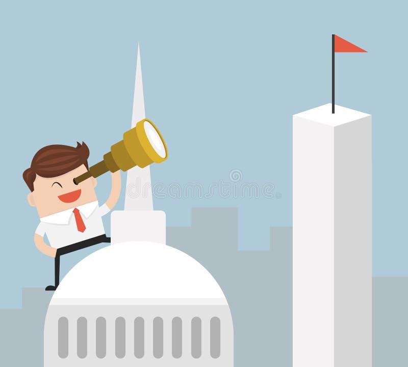Hombre de negocios que mira a través del catalejo en el top de edificio libre illustration