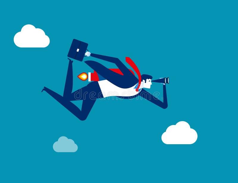 Hombre de negocios que mira y que vuela al ?xito Ejemplo del vector del negocio del concepto Carácter plano, diseño del estilo de ilustración del vector