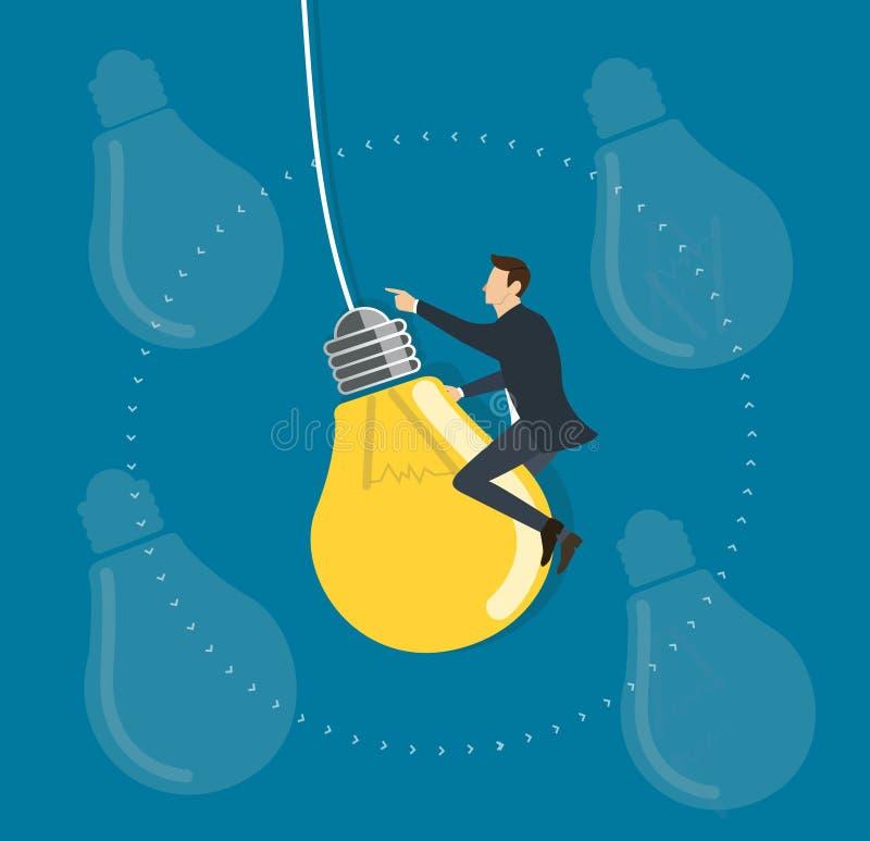 Hombre de negocios que monta un vuelo en el cielo, conceptos creativos de la bombilla ilustración del vector