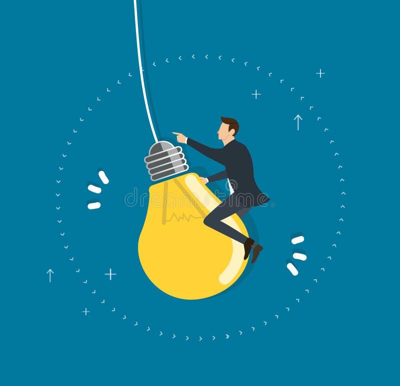 Hombre de negocios que monta un vuelo en el cielo, conceptos creativos de la bombilla stock de ilustración