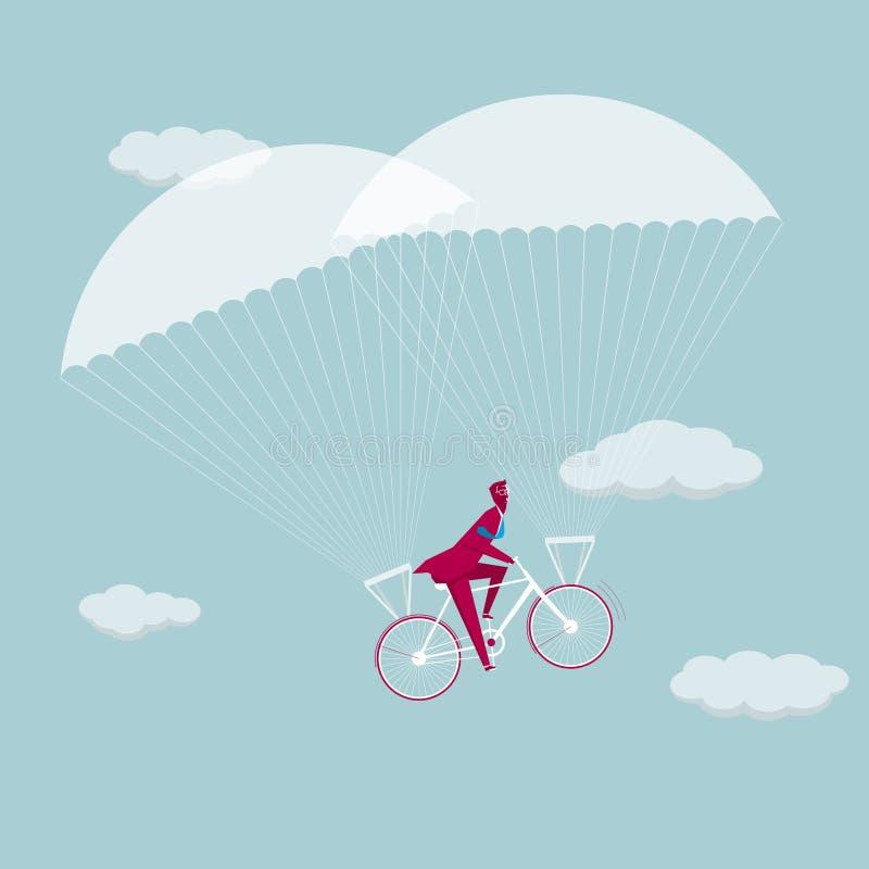 Hombre de negocios que monta una bicicleta a aerotransportado ilustración del vector