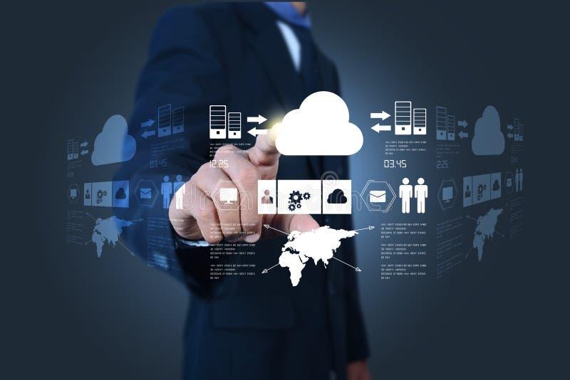 Hombre de negocios que muestra el concepto de computación de la nube stock de ilustración