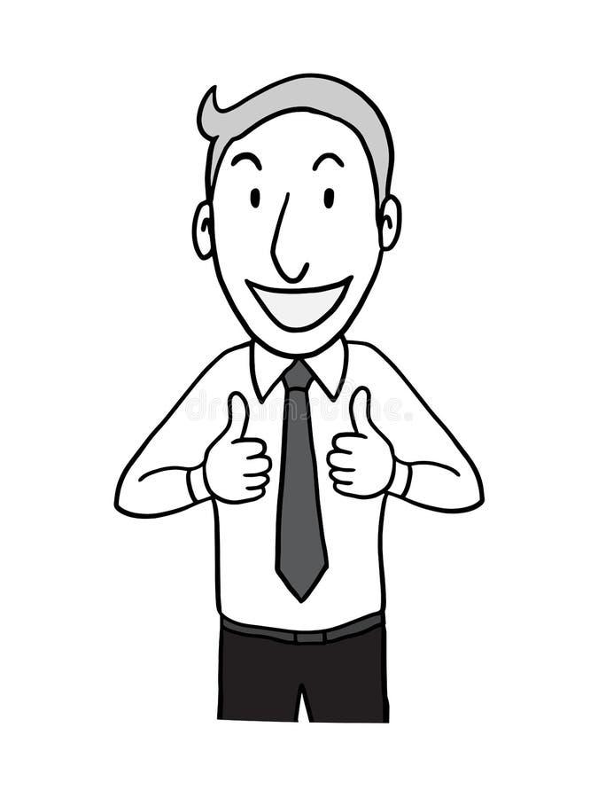 Hombre de negocios que muestra el pulgar dos para arriba línea dibujada mano aislada carácter del garabato del esquema del ejempl stock de ilustración