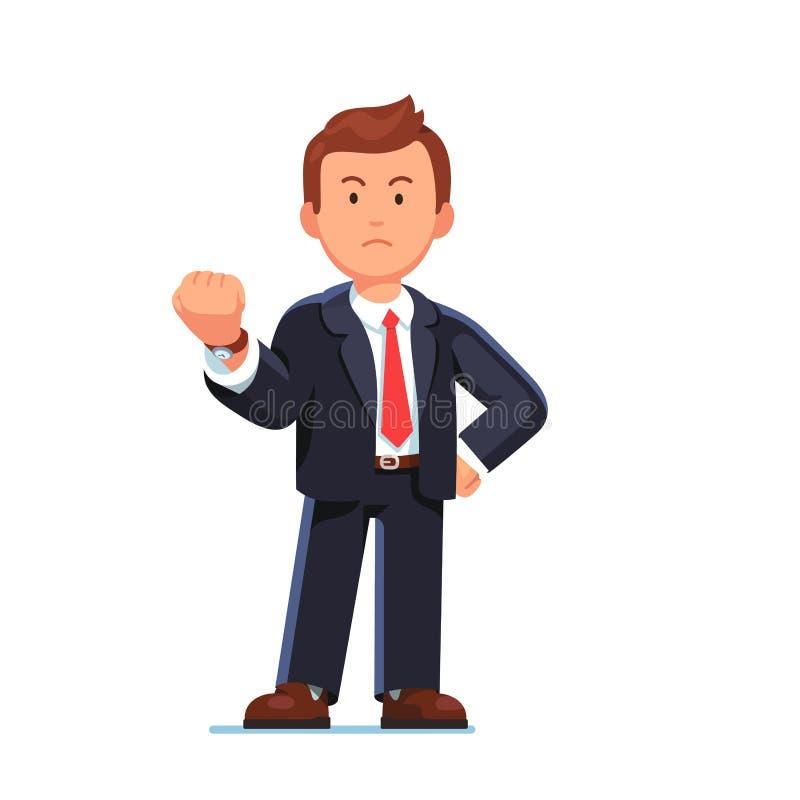 Hombre de negocios que muestra gesto con el puño apretado stock de ilustración