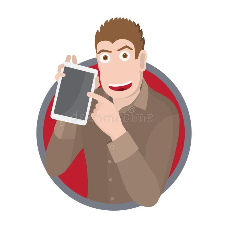 Hombre de negocios que muestra la tableta digital en blanco Ilustración del vector ilustración del vector