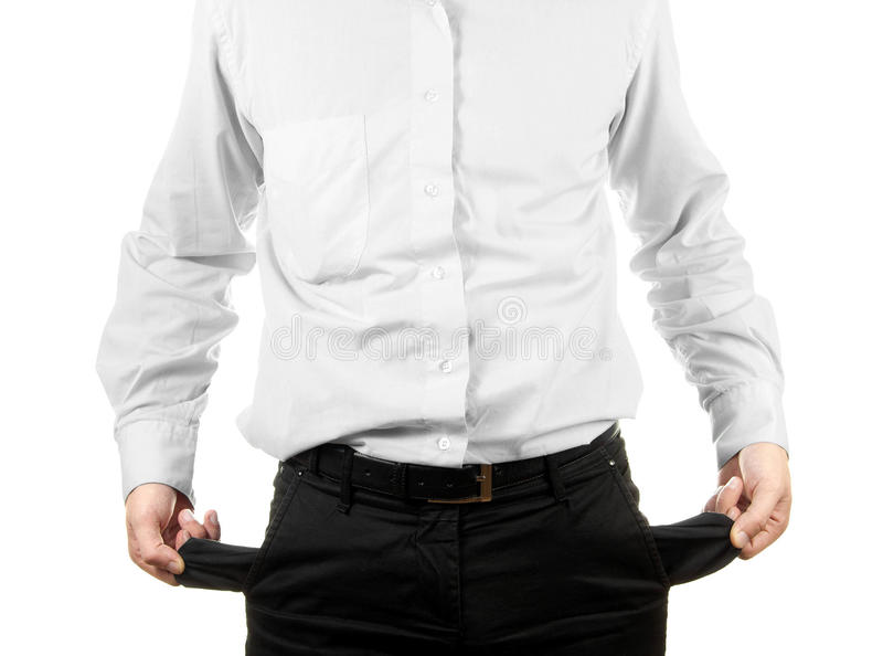 Hombre de negocios que muestra su bolsillo vacío imagenes de archivo
