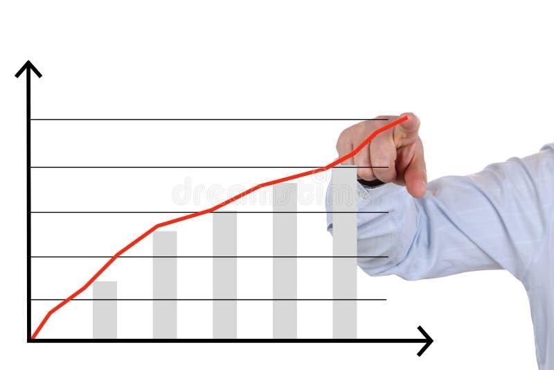Hombre de negocios que muestra un análisis de negocio, carta de crecimiento del éxito foto de archivo
