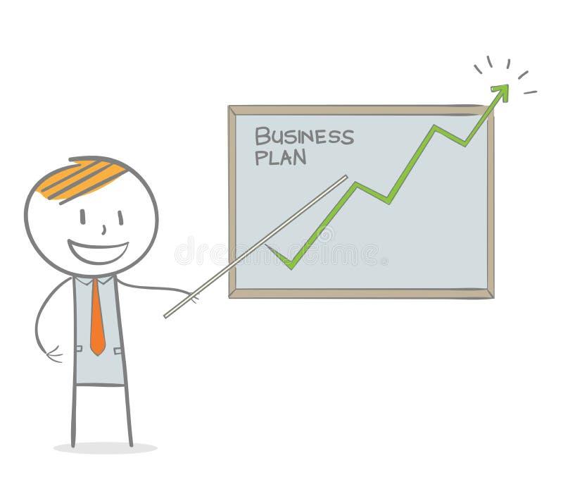 Hombre de negocios que muestra un gráfico cada vez mayor libre illustration