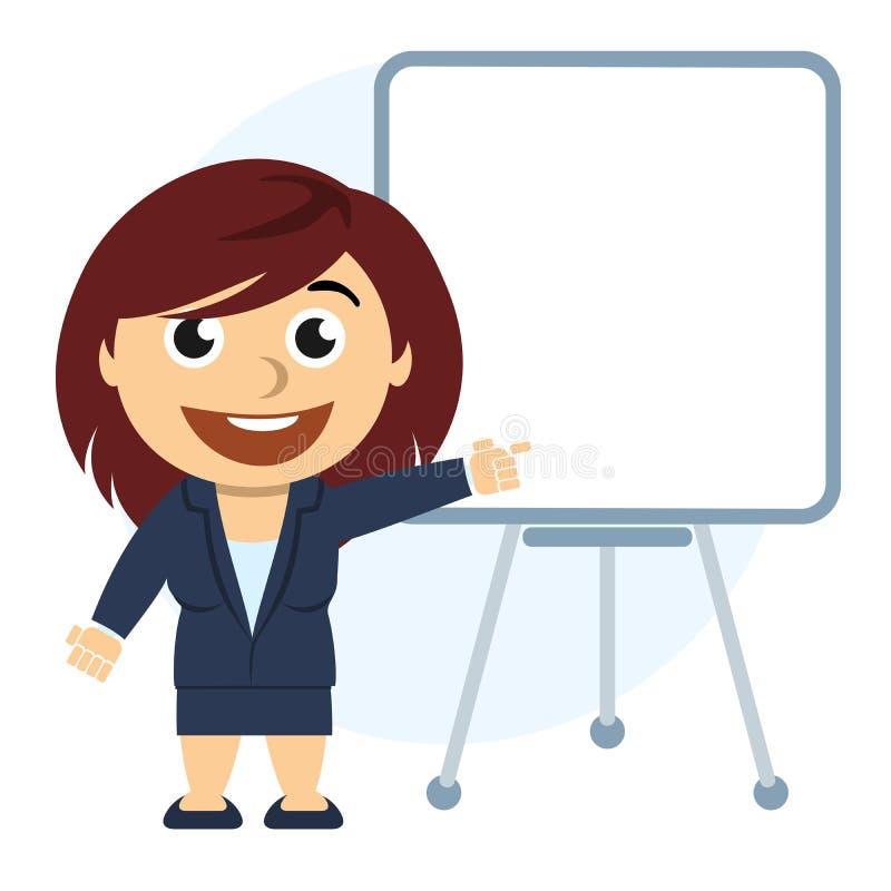 Hombre de negocios que muestra un gráfico en el tablero libre illustration