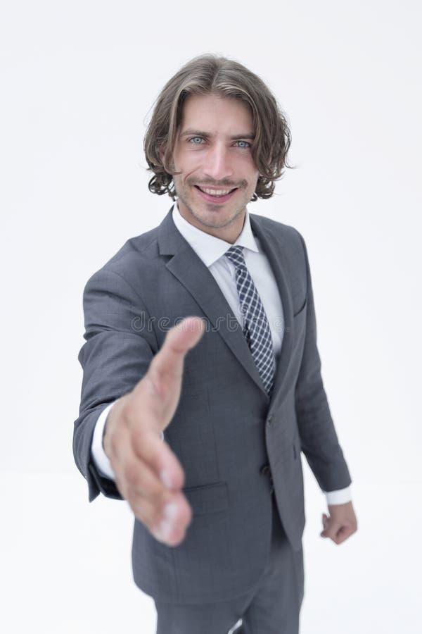 Hombre de negocios que ofrece para el apret?n de manos fotografía de archivo libre de regalías