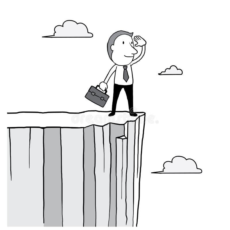 Hombre de negocios que parece delantero y situación en el alto acantilado sobre la nube en el cielo concepto de la visión del líd stock de ilustración