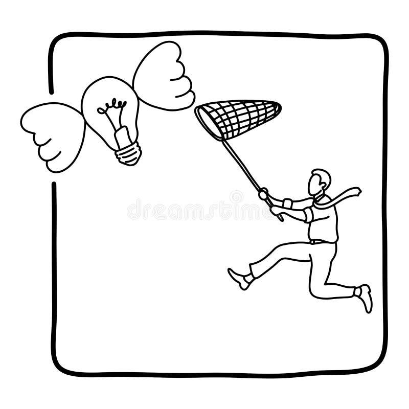 Hombre de negocios que persigue la mano del garabato del bosquejo del ejemplo del vector del bulbo del vuelo dibujada con las lín stock de ilustración