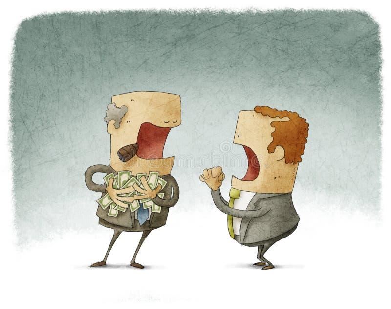 Hombre de negocios que pide dinero a un codicioso ilustración del vector