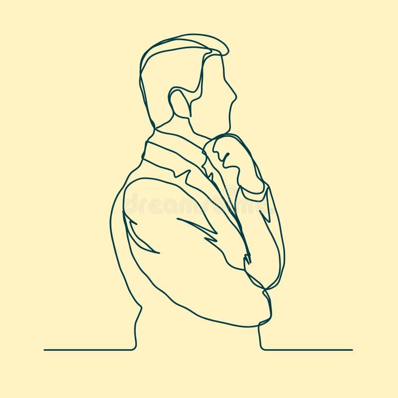 Hombre de negocios que piensa el diseño linear, línea continua, esquema pensativo del hombre stock de ilustración