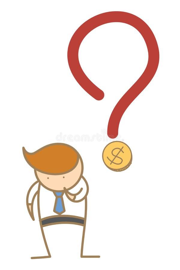 hombre de negocios que piensa en el dinero ilustración del vector