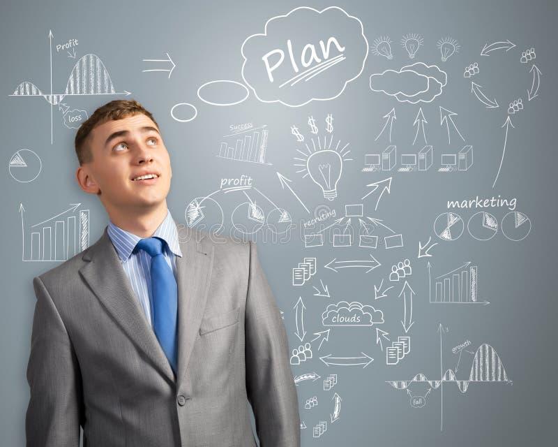 Hombre de negocios que piensa en la innovación en negocio foto de archivo libre de regalías
