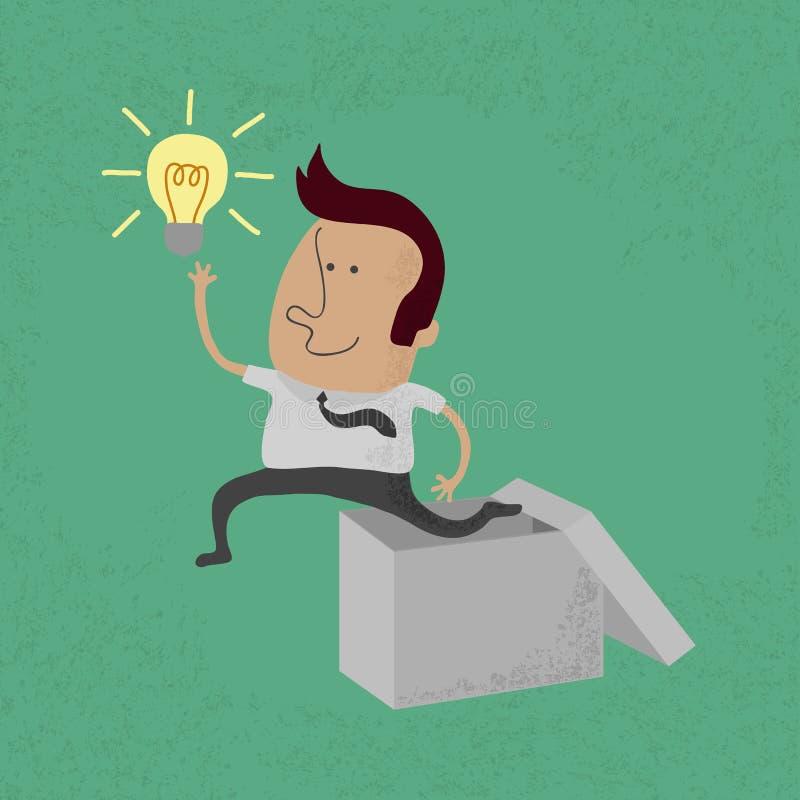 Hombre de negocios que piensa fuera de la caja ilustración del vector