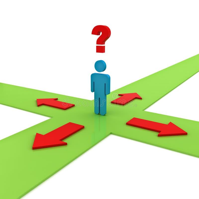 Hombre de negocios que piensa y que confunde con cuatro flechas rojas en las maneras verdes que muestran cuatro diversas direccio ilustración del vector