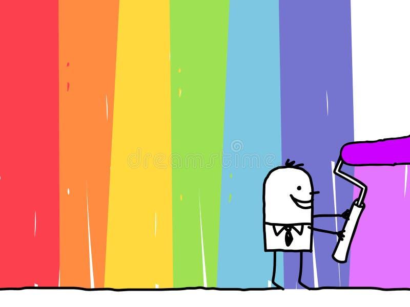 Hombre de negocios que pinta un fondo del arco iris ilustración del vector