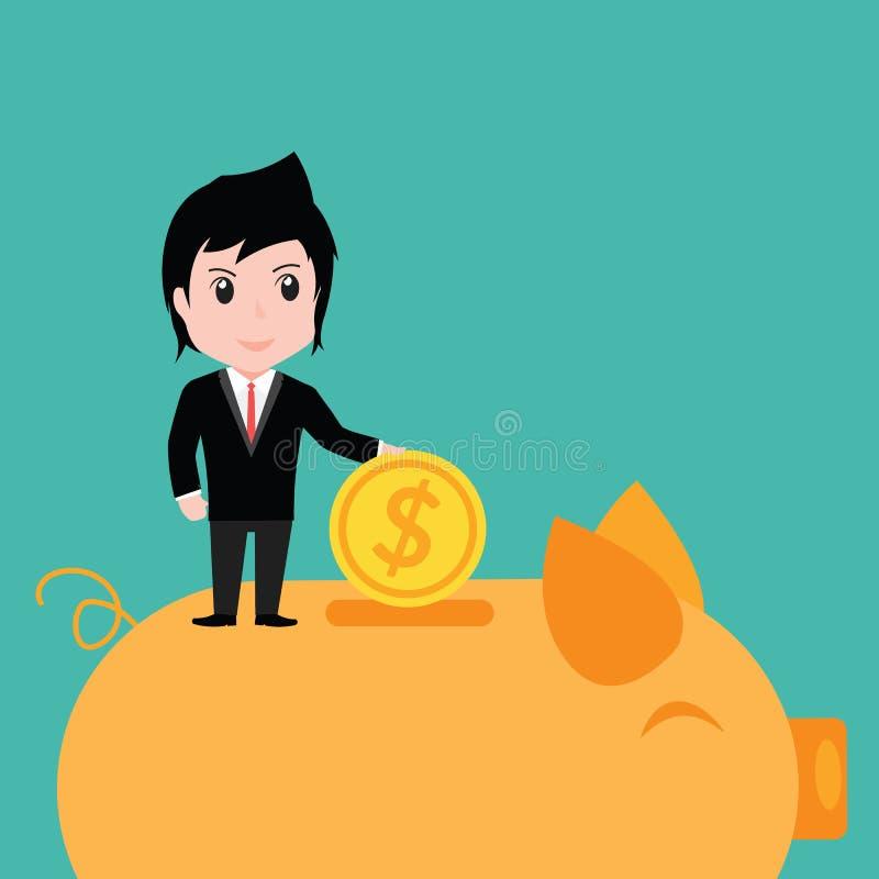 Hombre de negocios que pone la moneda en la hucha, historieta ilustración del vector