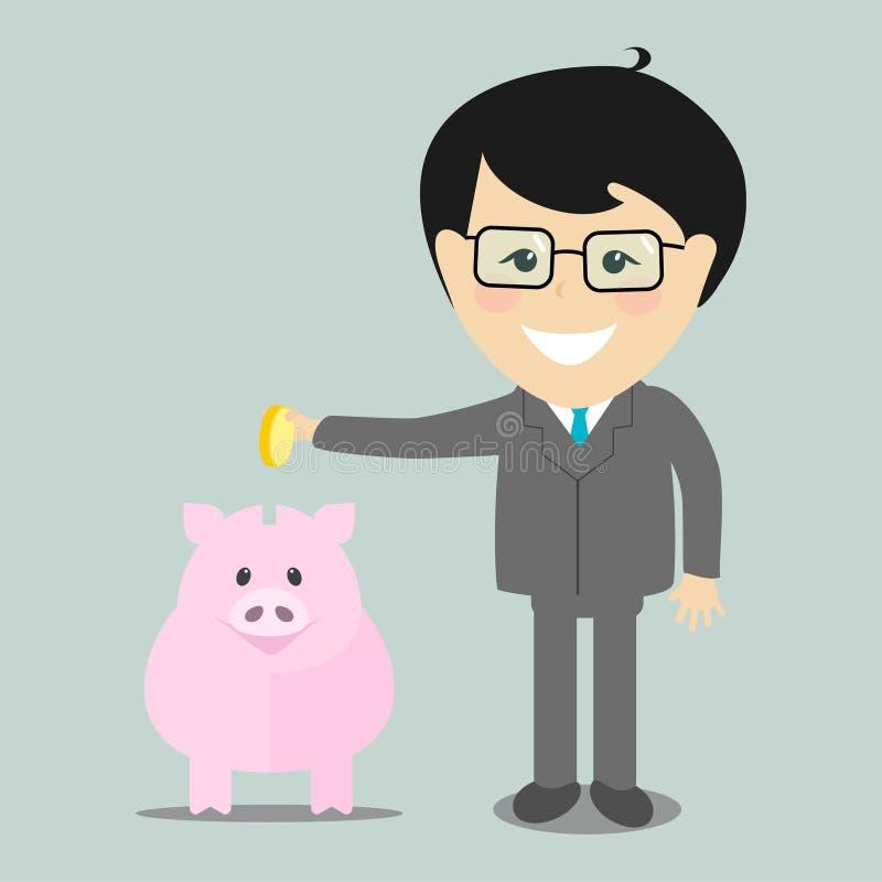 Hombre de negocios que pone una moneda en una hucha, illustrati libre illustration