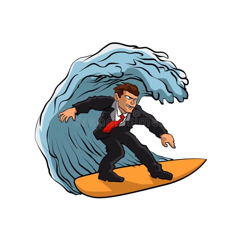 Hombre de negocios que practica surf en onda ilustración del vector
