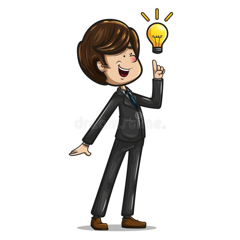 Hombre de negocios que presenta con el dedo índice arriba y una bombilla ilustración del vector