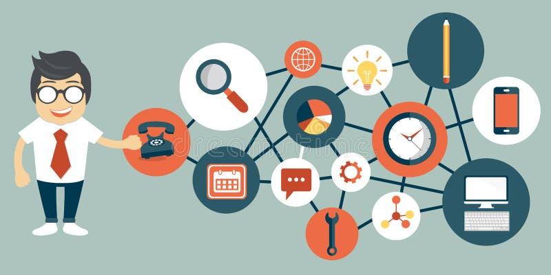 Hombre de negocios que presenta a la gestión de la relación del cliente Sistema para las interacciones de manejo con los clientes ilustración del vector