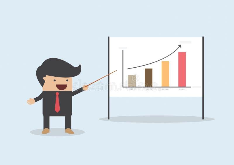 Hombre de negocios que presenta y que señala el gráfico a bordo libre illustration