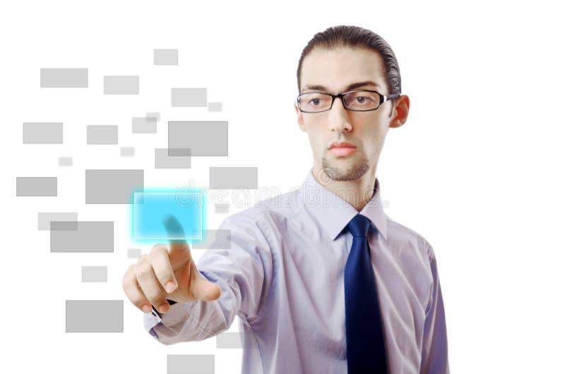 Hombre de negocios que presiona los botones virtuales fotos de archivo