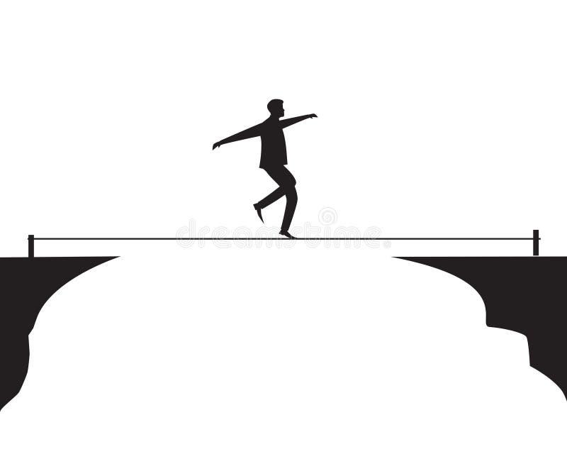 Hombre de negocios que recorre en cuerda Desafío del riesgo en concepto del negocio stock de ilustración