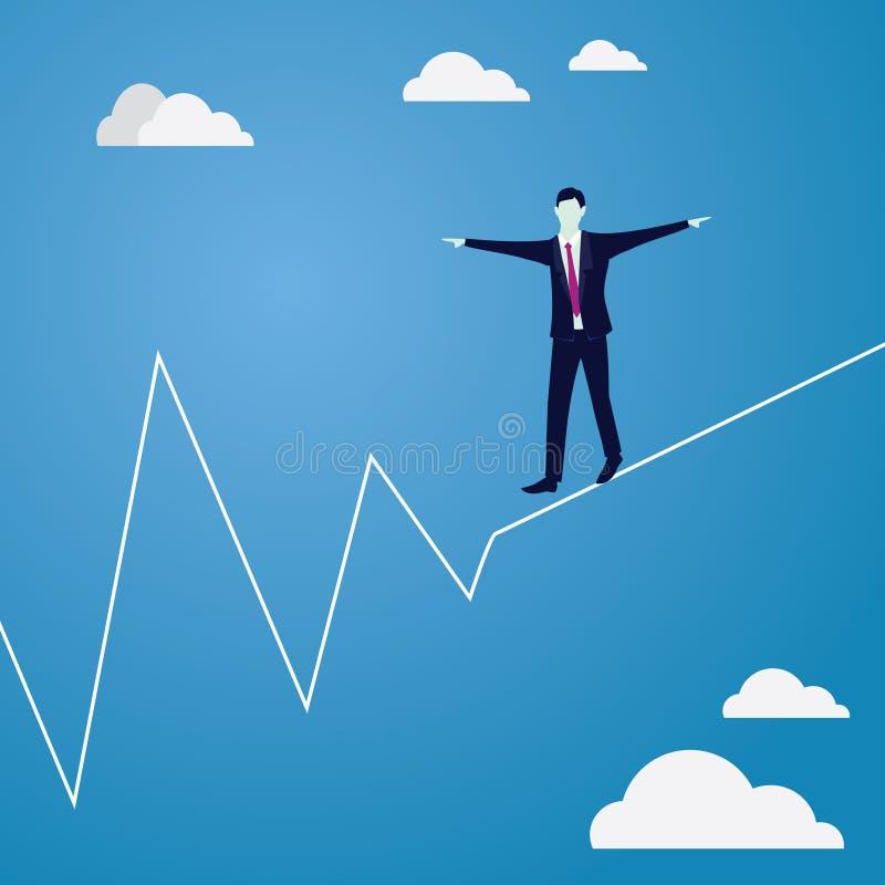 Hombre de negocios que recorre en cuerda Desafío del riesgo en concepto del negocio ilustración del vector