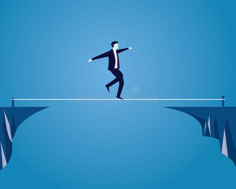 Hombre de negocios que recorre en cuerda Desafío del riesgo en concepto del negocio libre illustration