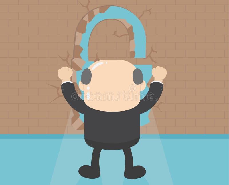 Hombre de negocios que retrocede de la pared del éxito acertado ilustración del vector