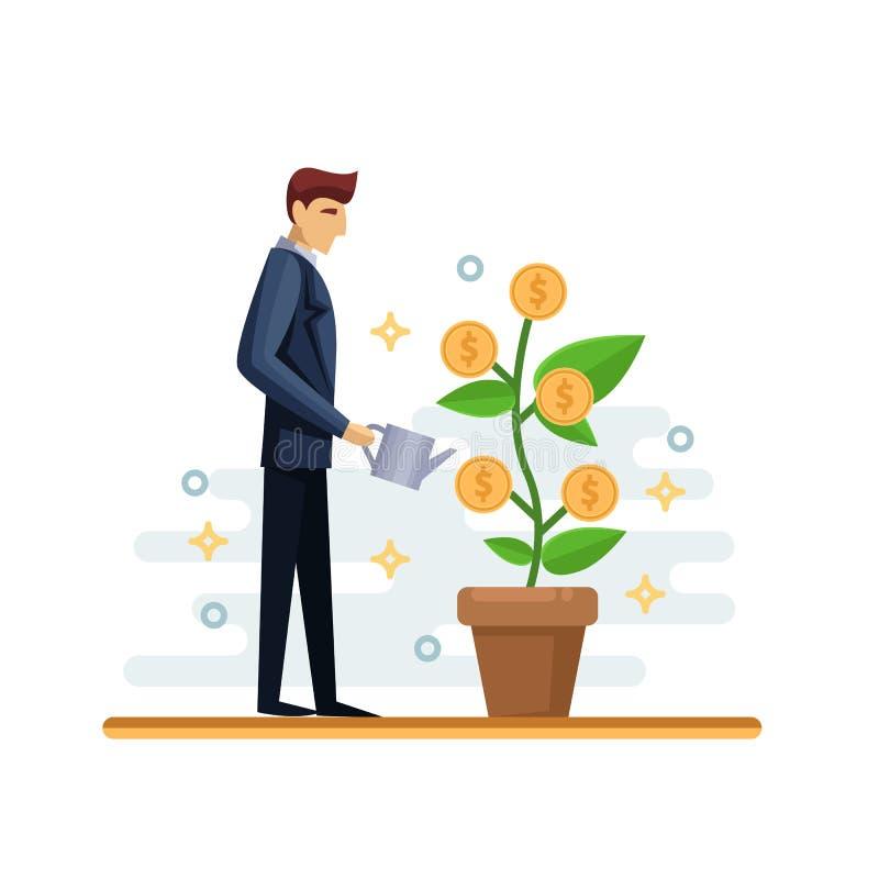 Hombre de negocios que riega el árbol del dinero verde Ejemplo aislado plano del vector Concepto del negocio del crecimiento de l libre illustration