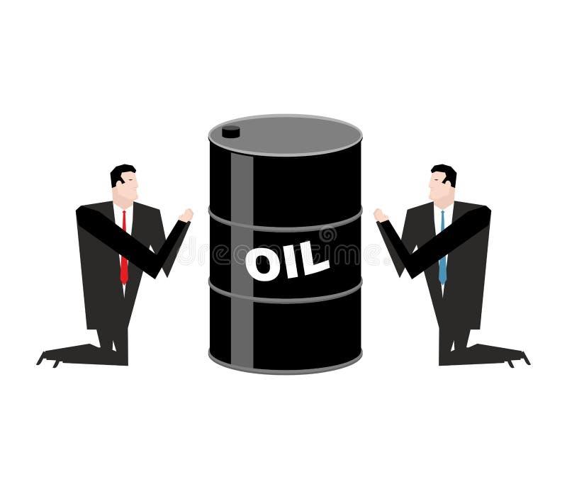 Hombre de negocios que ruega para el aceite Barril del rezo de petróleo Ruegue a las FO ilustración del vector