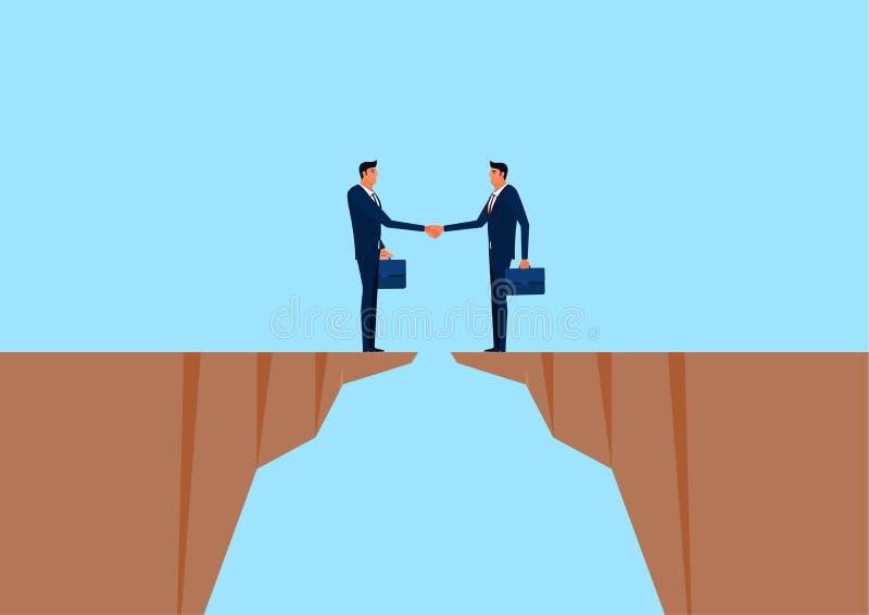 Hombre de negocios que sacude las manos en el acantilado Relaciones de negocios, sociedad, concepto de la interacción de la coope stock de ilustración