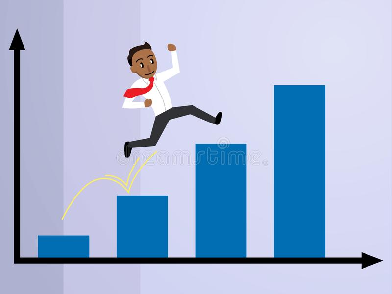 Hombre de negocios que salta sobre un gráfico de barra Tan Version libre illustration